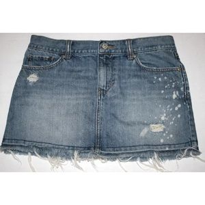 Women's Old Navy Distressed Frayed Jean Mini Skirt